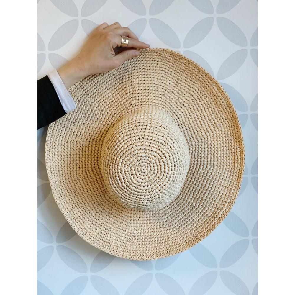 Описание  шляпы из рафии с большими полями