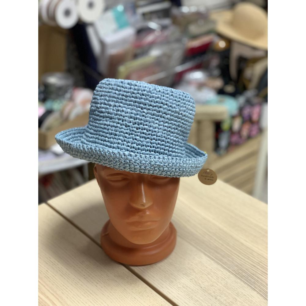 Шляпа вязаная из рафии детская. Рамер 50
