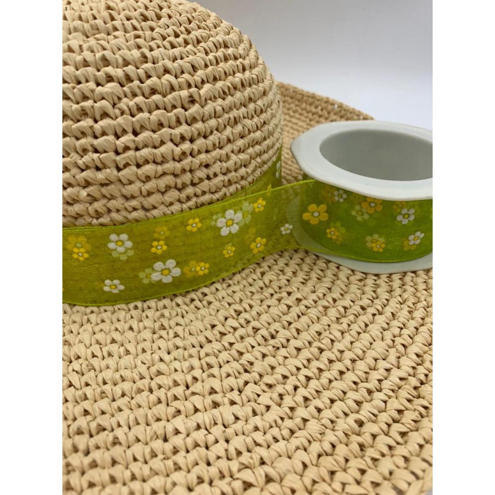 Лента декоративная (зеленая, полупрозрачная с цветочками)