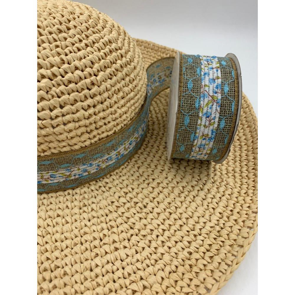 Лента декоративная (лен, голубой цветочек)