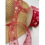 Лента декоративная (лен, полупрозрачная, красная в цветочек)