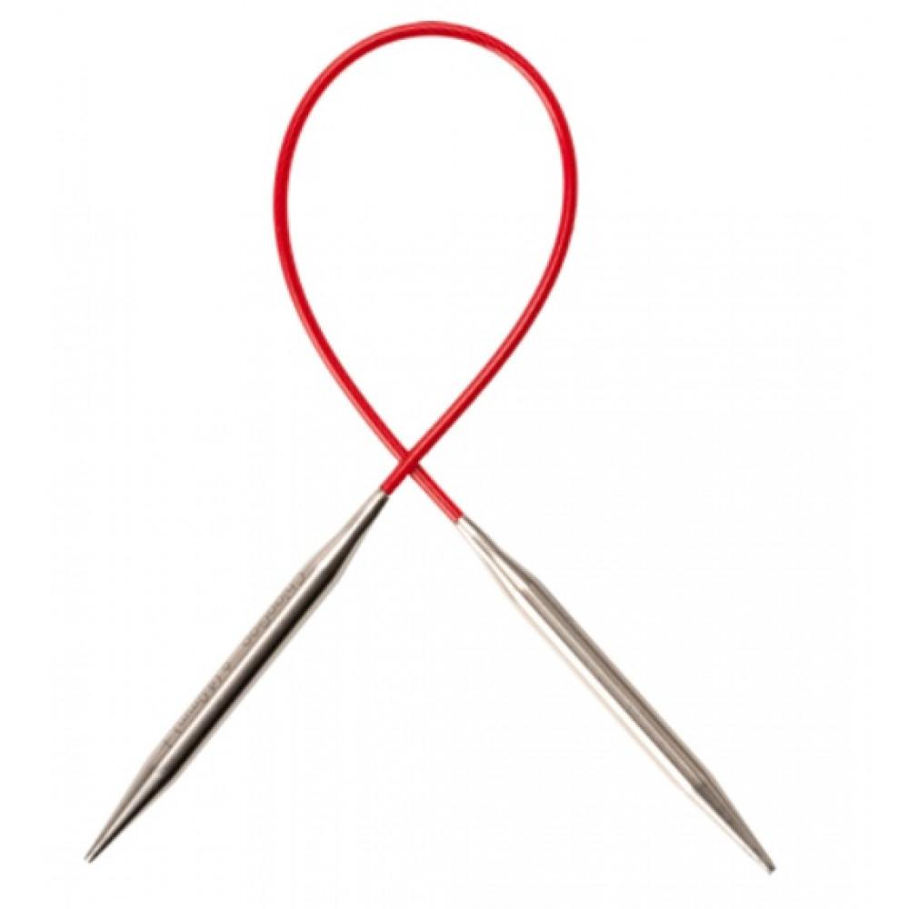Спицы Chiaogoo Premium SS Knit Red Circular металлические на леске 23 см 5мм
