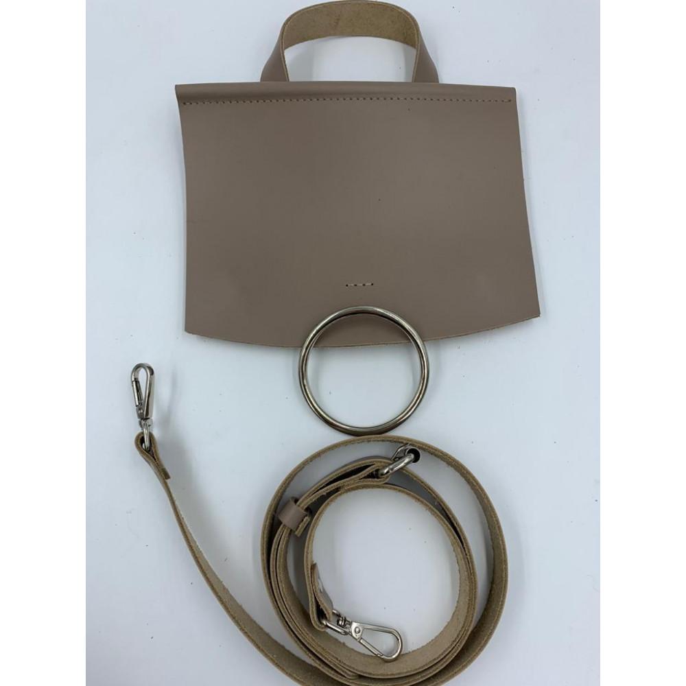 Набор для вязания  сумки  с кольцом (клапан 23*20 с магнитом, ремень с регулировкой длины 120 см), тауп