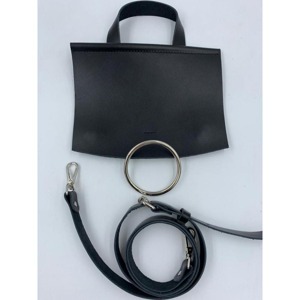 Набор для вязания  сумки  с кольцом (клапан 23*20 с магнитом, ремень с регулировкой длины 120 см), черный
