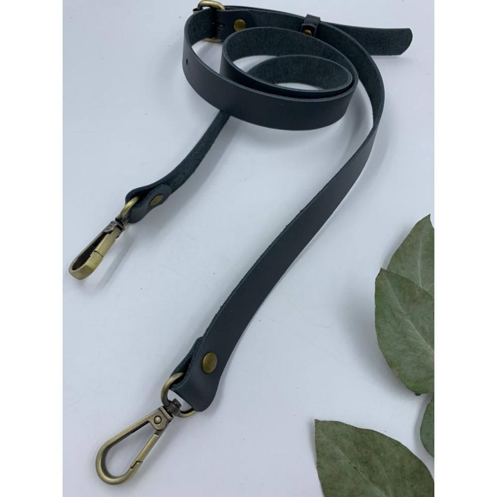 Ремень для сумки узкий 120см (Темно-серый, фурнитура - латунь)