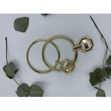 Ручки для сумок металлические с держателем, диаметр 10 см, пара (цвет -золото)