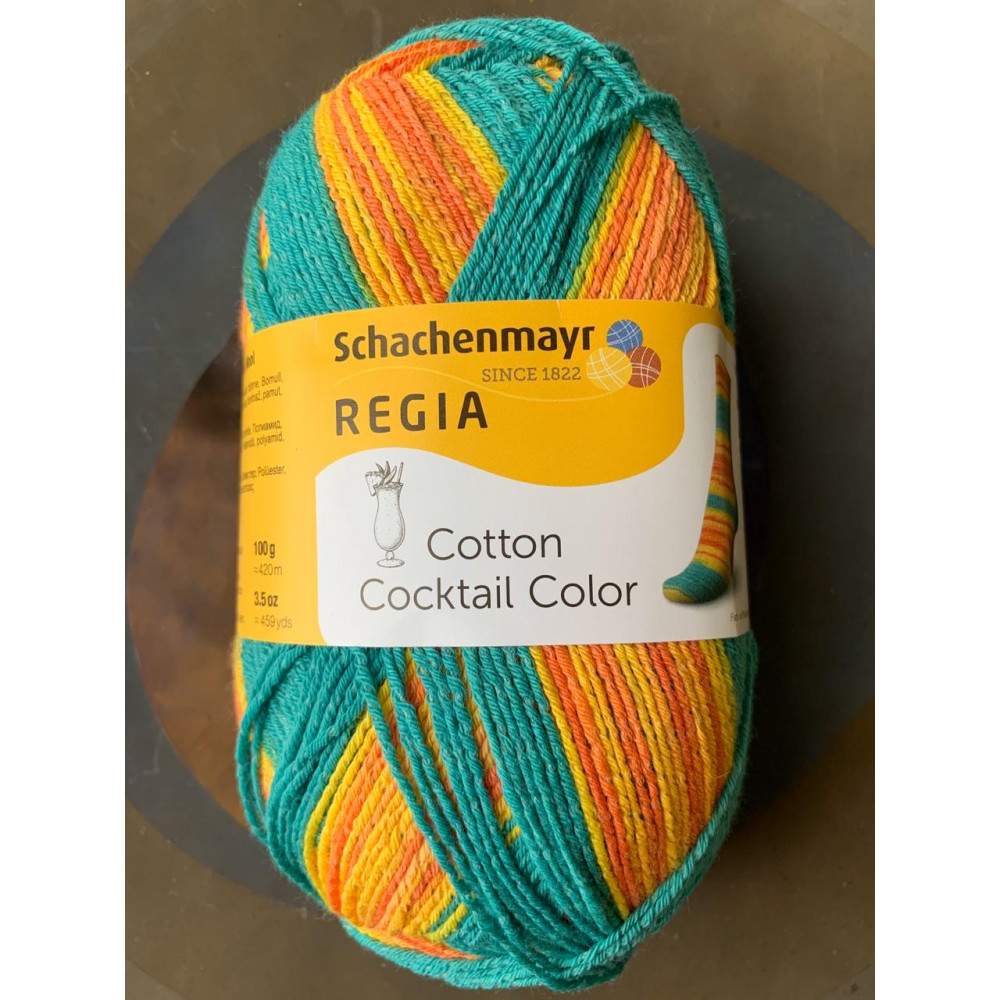 Schachenmayr Regia Cotton Coctail Color (оранжевый/бирюзовый)