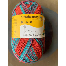 Schachenmayr Regia Cotton Coctail Color (красный/бирюзовый)